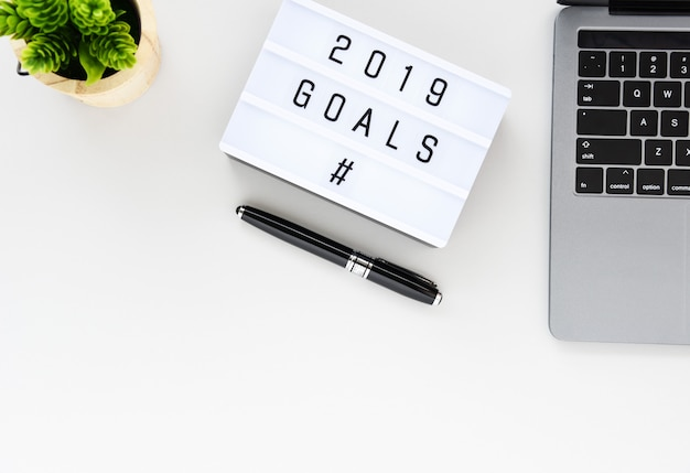 2019 goals business concept flat lay,minimal style