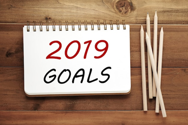 2019 goals on notebook paper background, banner sign