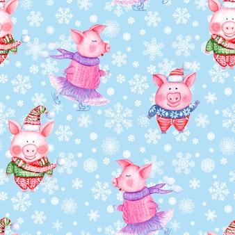 2019年明けましておめでとうとクリスマスのシームレスなパターンのイラストと雪片の青い背景にニットの服で水彩手描き面白い豚。ギフトラッピング、グリーティングカード用に印刷します。