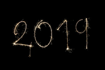 2019 inscription made from sparklers