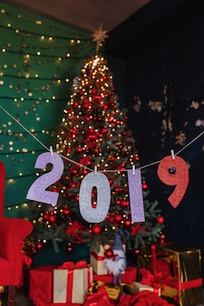 2019 numbers new year party, christmas tree