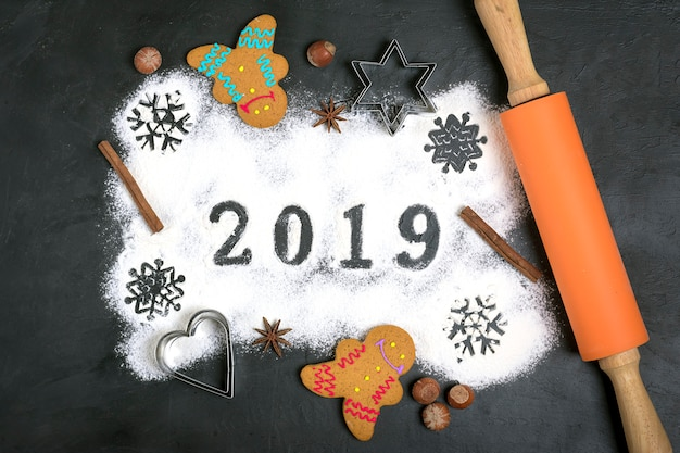 2019 text made with flour with decorations