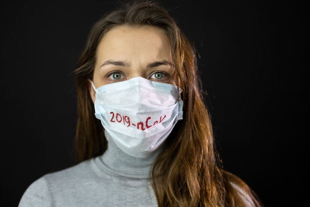 Портрет испуганной коронавируса в медицинской маске с надписью 2019-нков
