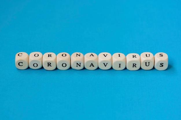 Текстовая фраза коронавирус сделана из деревянных блоков. новый коронавирус 2019-нков респираторного синдрома коронавируса.