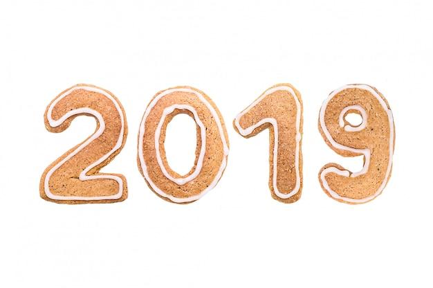 ハッピーニューイヤーのジンジャーブレッドクッキーからの数字のセット。 2019年