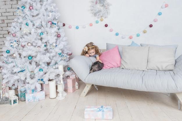 少女とミニ豚。 2019年のリトルピッグシンボルペットと子供。若者の友情とケア