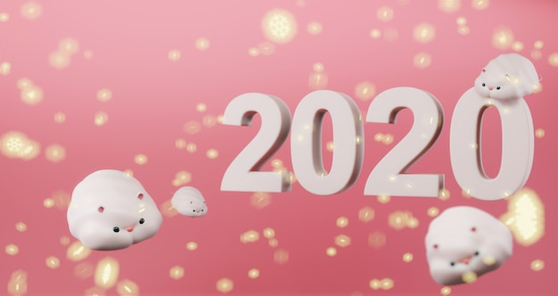 2020年旧正月。明るい雪と2020年のアイコンでピンクに浮かぶかわいいネズミ。 rat年