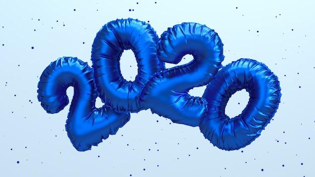 Иллюстрация перевода 2020 новых годов 2020. голубая металлическая фольга цифры надписи летать в воздухе.