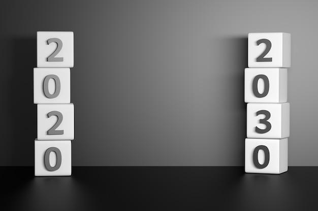 2020年と2030年の数値を持つキューブ