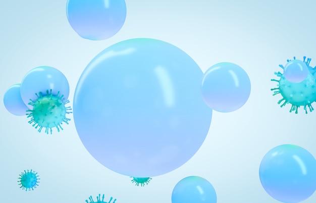 顕微鏡ウイルスはきれいな石鹸の泡で閉じます。中国病原体呼吸器コロナウイルス2020。医療コンセプト。 3 dのレンダリング。