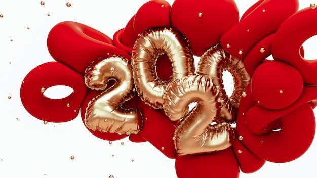 2020新年の3 dレンダリング図。箔番号レタリングと赤と金属の金の抽象的な形。