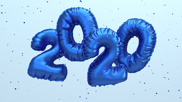 2020新年の3 dレンダリング図。空を飛んでいる青い金属箔の数字のレタリング。