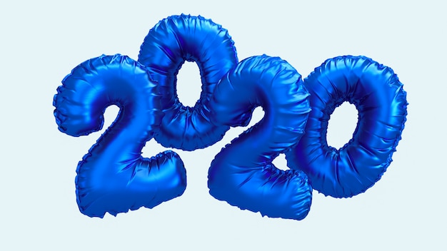 2020新年の3 dレンダリング図。空を飛んでいる青い金属箔番号の文字。