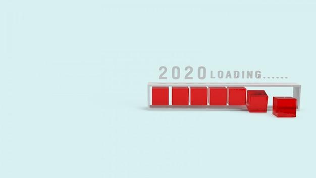 2020年の休日コンテンツの3dレンダリングの読み込み。