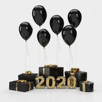 バルーン付きギフトボックス。明けましておめでとう2020。 3dレンダリング
