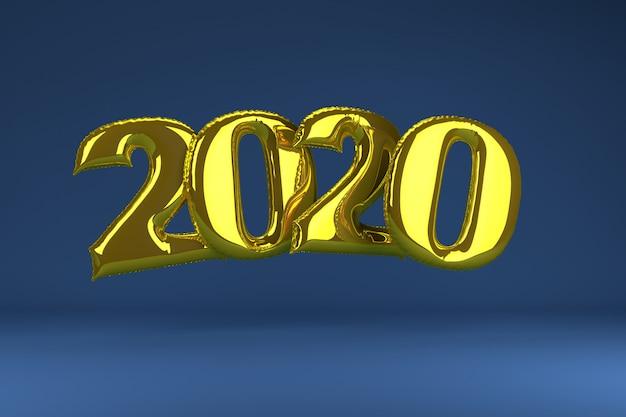 Золотые надувные фигуры 2020 на синем. надувные шарики. новый год. 3d визуализация.