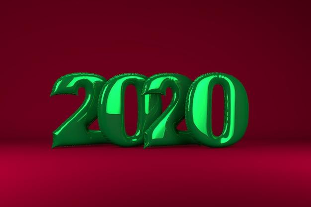 Зеленые металлические надувные фигуры 2020 на красный. надувные шарики. новый год. 3d визуализация.