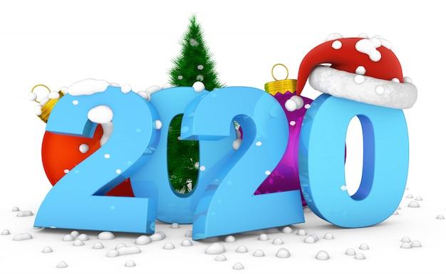 2020 and ball christmas tree