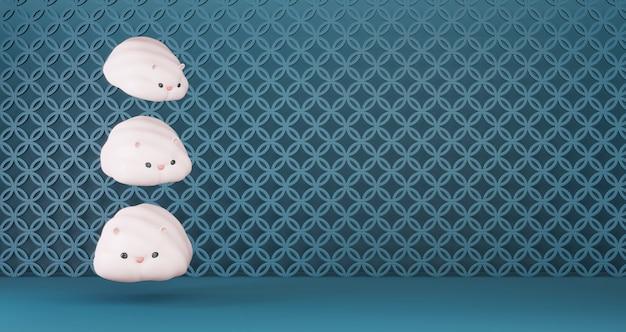 2020 китайский новый год. китайские милые крысы, плавающие на синем фоне. год крысы