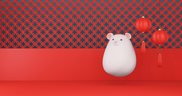 2020 chinese new year. chinese rat floating and chinese lantern hanging on a red wall background. year of the rat