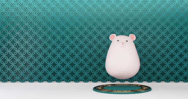 2020 chinese new year. chinese rat floating on a green pedestal on wall background. year of the rat