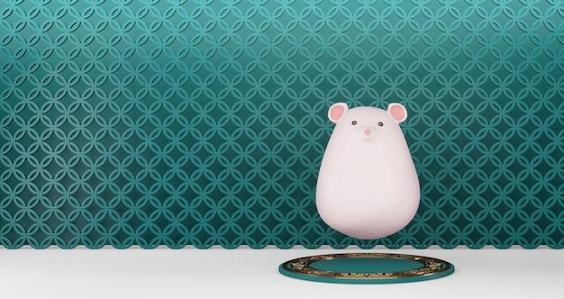 2020 китайский новый год. китайская крыса плавает на зеленый постамент на фоне стены. год крысы