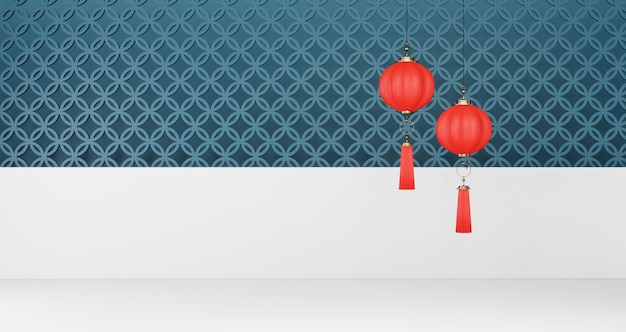 2020 chinese new year. red chinese lanterns hanging on a blue and white wall background