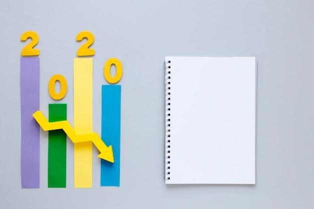 Диаграмма экономики 2020 года с ноутбуком