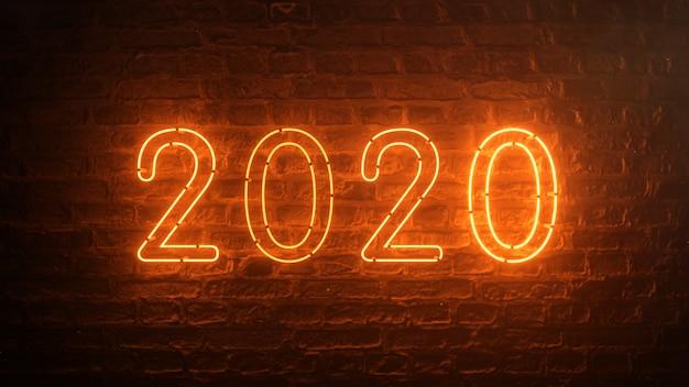 2020火のオレンジ色のネオンサイン背景新年のコンセプト。明けましておめでとうございます。レンガの背景。ちらつきライト。