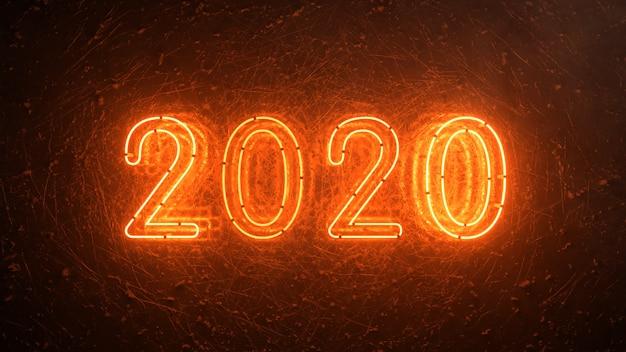 2020火のオレンジ色のネオンサイン背景新年のコンセプト。明けましておめでとうございます。ちらつきライト。