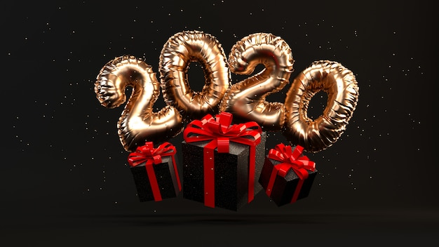2020 golden foil ballons rendering illustration with present boxes, red ribbon, gold glitter flying.