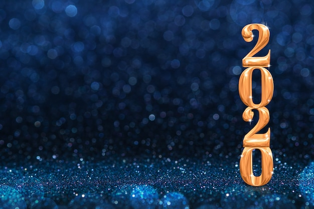 2020 golden new years 3d rendering at abstract sparkling dark blue glitter