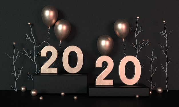 2020 golden numbers with gold balloons. new year environmental decoration concept.