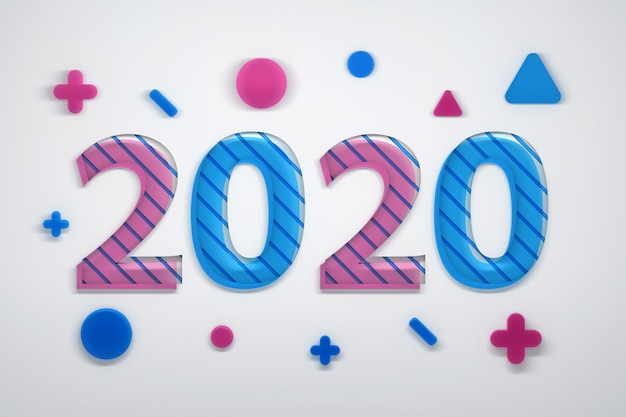 2020 greeting card with geometric shapes