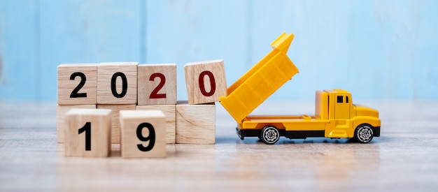 2020 happy new year with miniature truck
