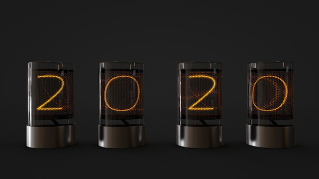 2020 lamp in glass cylinder ,3d rendering
