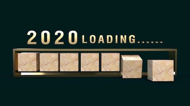 2020 loading 3d rendering for holiday content.