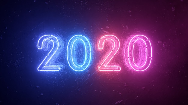 2020ネオンサイン背景新年のコンセプト。明けましておめでとうございます。金属の背景