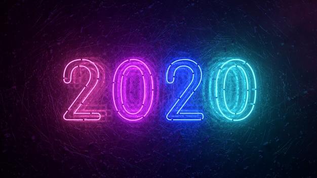 2020ネオンサイン背景新年のコンセプト。明けましておめでとうございます。