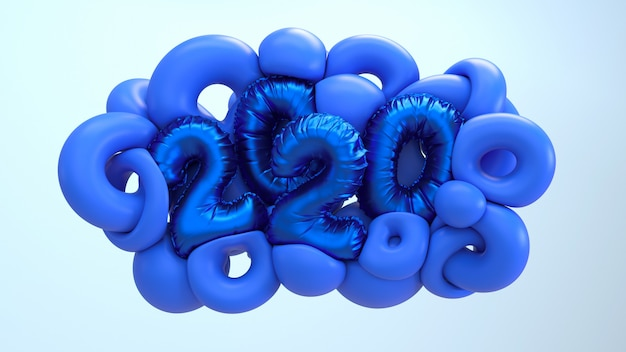 2020 new year 3d rendering illustration. blue abstract shapes with metallic foil numbers lettering.