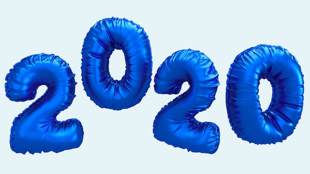 2020 new year 3d rendering illustration. blue metallic foil numbers lettering flying in the air.