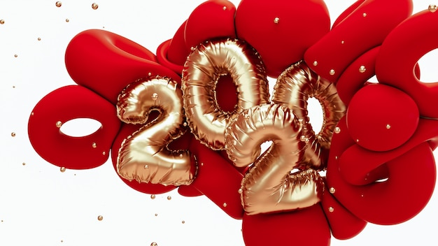 2020 new year 3d rendering illustration. red and metallic gold abstract shapes with foil numbers lettering.