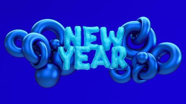2020 new year 3d rendering illustration.
