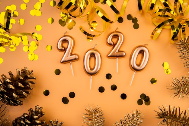 2020 new year digits and golden sequins