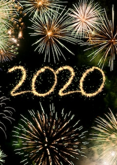 2020 new year fireworks background