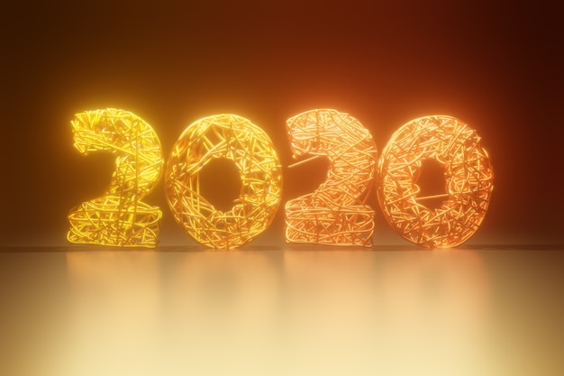 2020 new year golden numbers braided from wire. creative concept for the holiday. light effects.