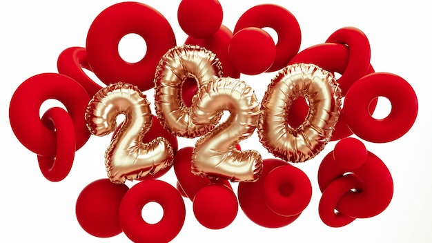 2020 new year. red and metallic gold abstract shapes with foil numbers lettering.
