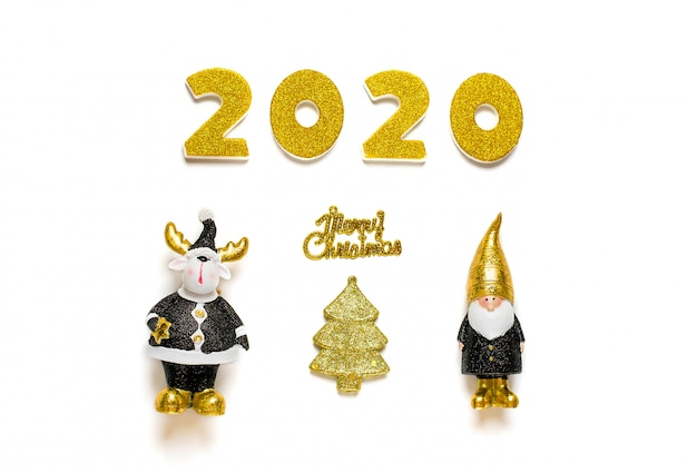 2020 numbers decorated with gold sparkle, elf, deer in black, golden color isolated on white background.