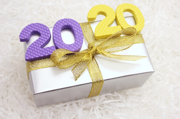 2020 numbers on the gift box. happy new year.