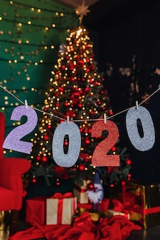 2020 numbers new year party, christmas tree